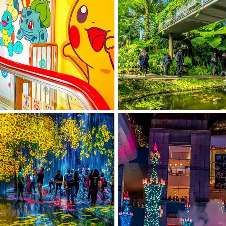 Grid of things to do in Tokyo with kids