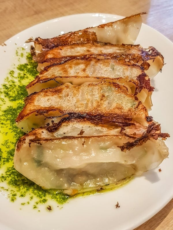 Gyoza with basil oil