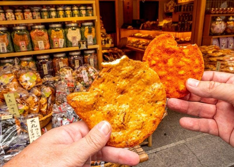 Senbei rice crackes on Asakusa Tokyo food tour