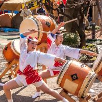 Taiko drummers at an Ume Festival in Tokyo