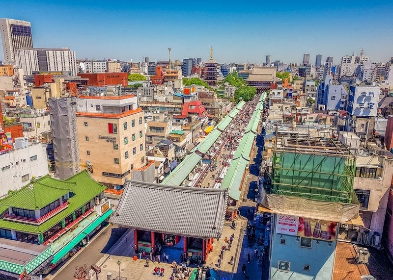 View of Asakusa Tokyo from above