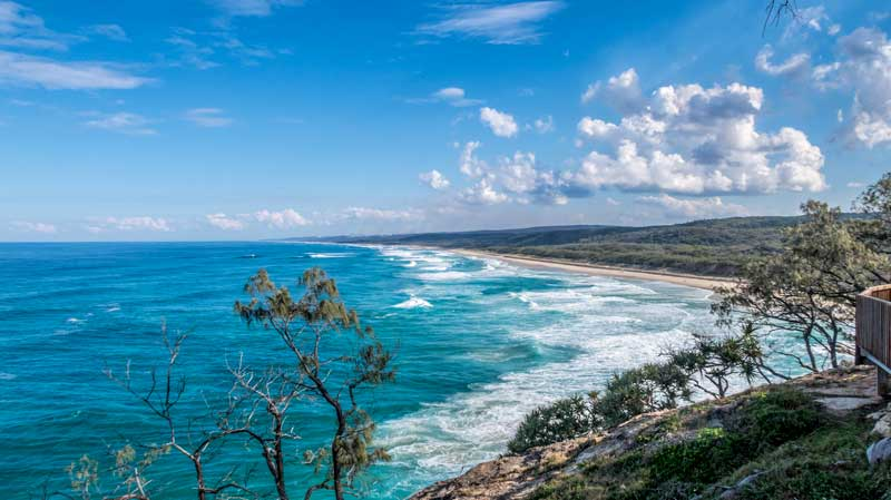 Looking south down Main Beach on Stradbroke Island from Point Lookout