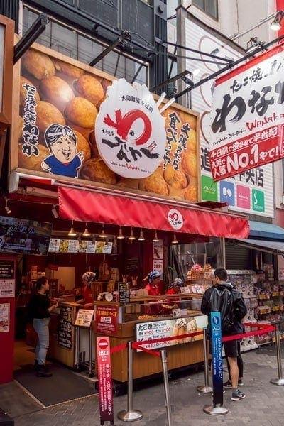 Popular takoyaki chain in Dotonbori, Osaka