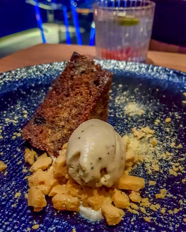 Banana pudding with wattle seed icecream