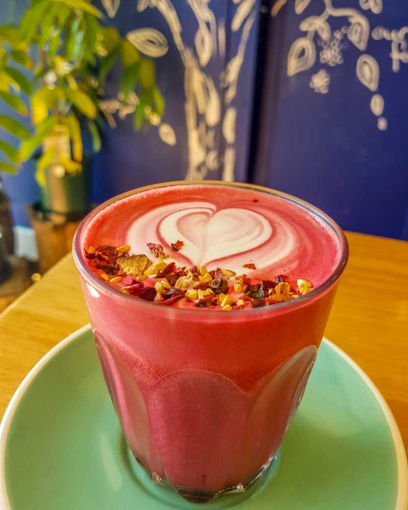Beetroot latte at Organic Feast