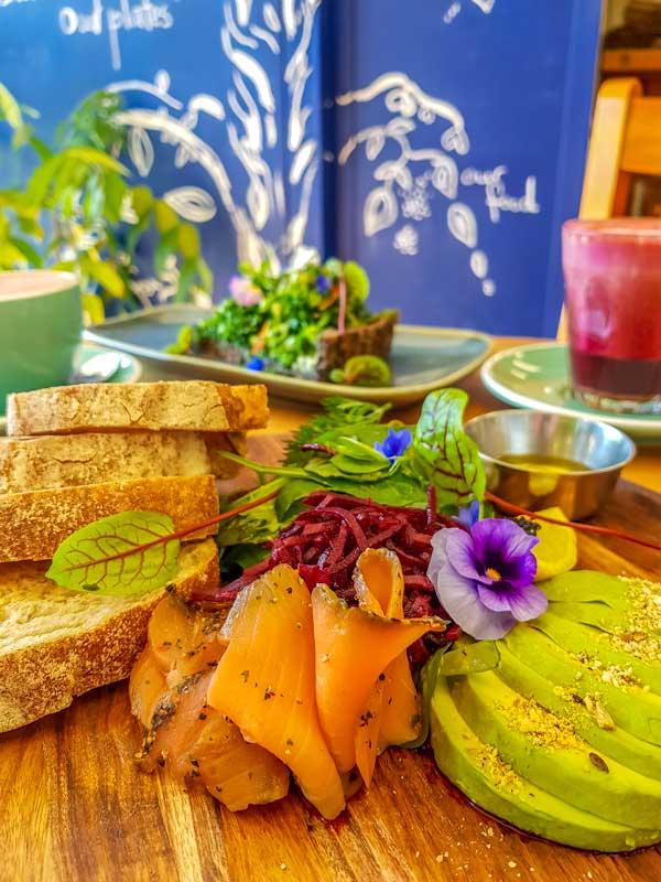 Smoked salmon platter at Organic Feast