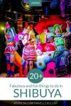 Things to do in Shibuya Japan Pinterest pin showing Kawaii Monster Cafe show