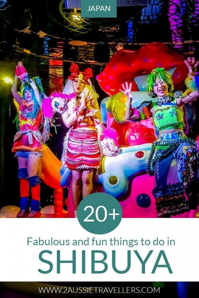 Things to do in Shibuya Japan Pinterest pin showing Kawaii Monster Cafe show