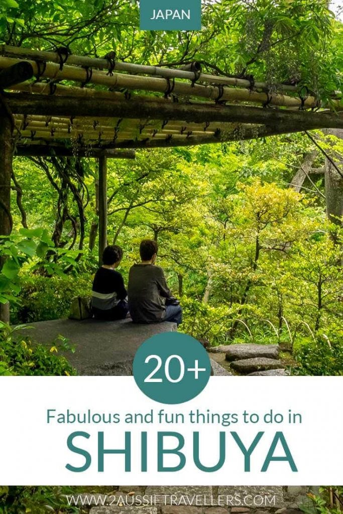 Things to do in Shibuya Japan Pinterest pin showing Nezu Museum garden