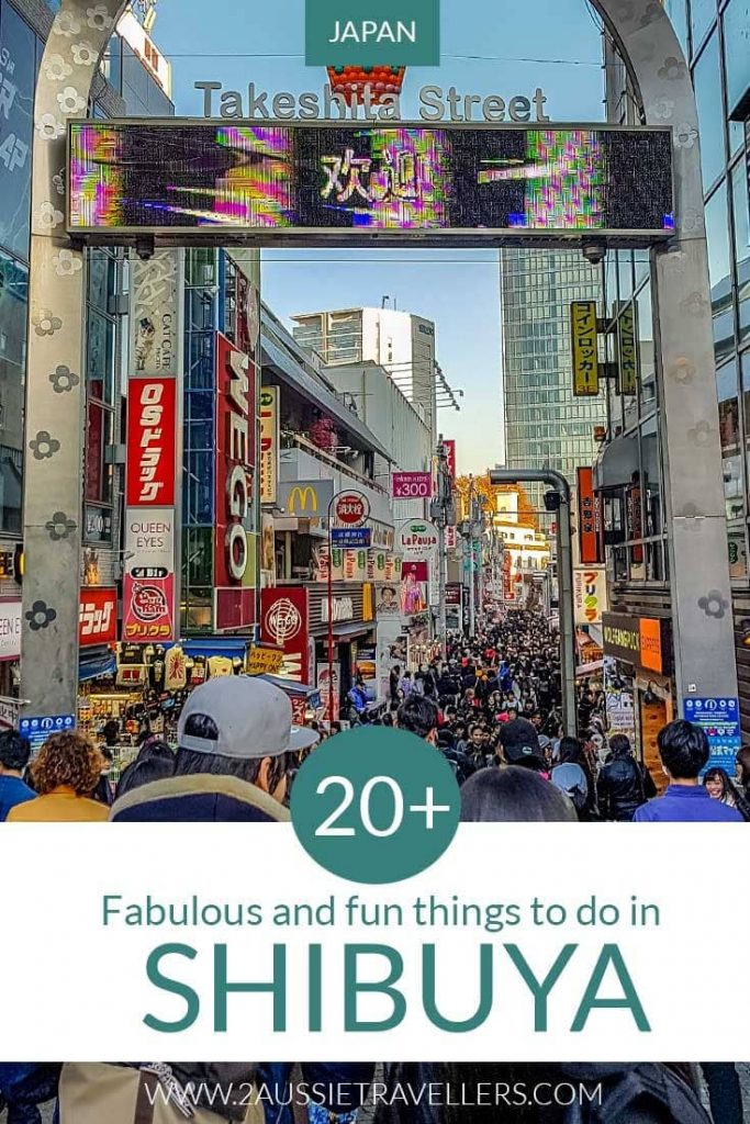 Things to do in Shibuya Japan Pinterest pin showing Takeshita Street