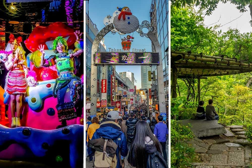 Montage of things to do in Shibuya, Japan. Kawaii monster cafe show, Takeshita Street and the serenity of Nezu Museum garden
