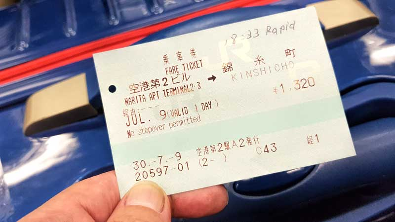 Japan rail train ticket from Narita Airport with suitcase behind