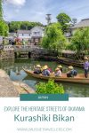A pinterest pin showing a traditional boat on the canal and the words Explore the heritage streets of Okayama - Kurashiki Japan