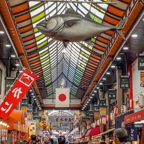 Kuromon market in Osaka