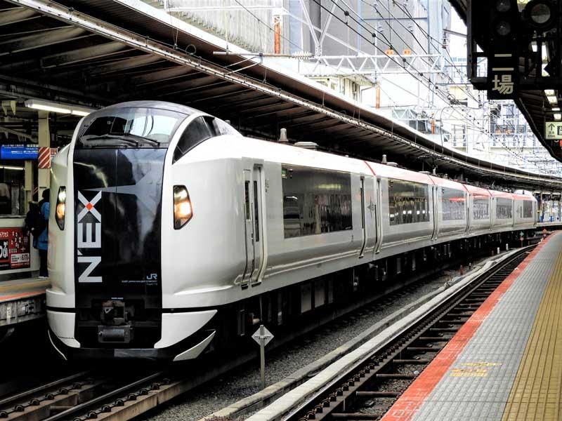 Narita Express (NEX) train in Tokyo Japan