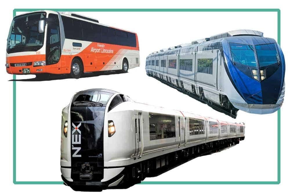 Composite show 3 ways from Narita Airport to Tokyo, NEX train, Skyliner train and Airport limousine bus