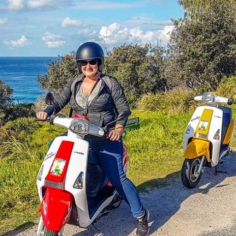 Toni on scooter on North Stradbroke Island