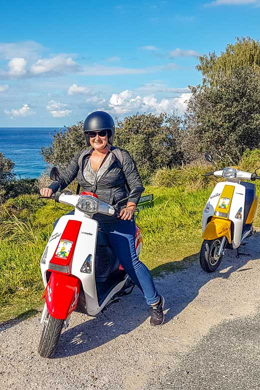 Toni on scooter on North Stradbroke Island