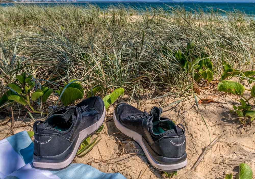 Tropicfeel Canyon travel shoe in black at beach