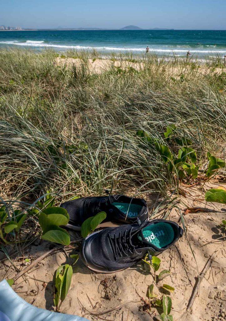 Tropicfeel Canyon travel shoes at Mooloolaba beach