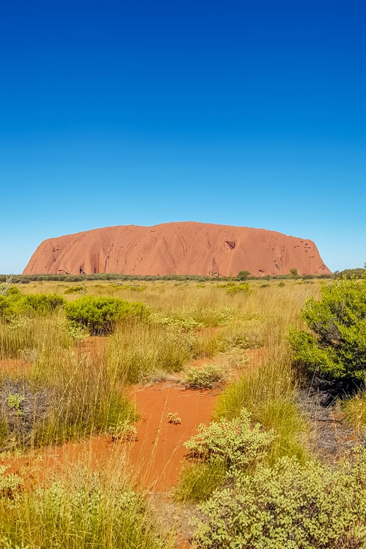Ayers Rock or Uluru across the desert