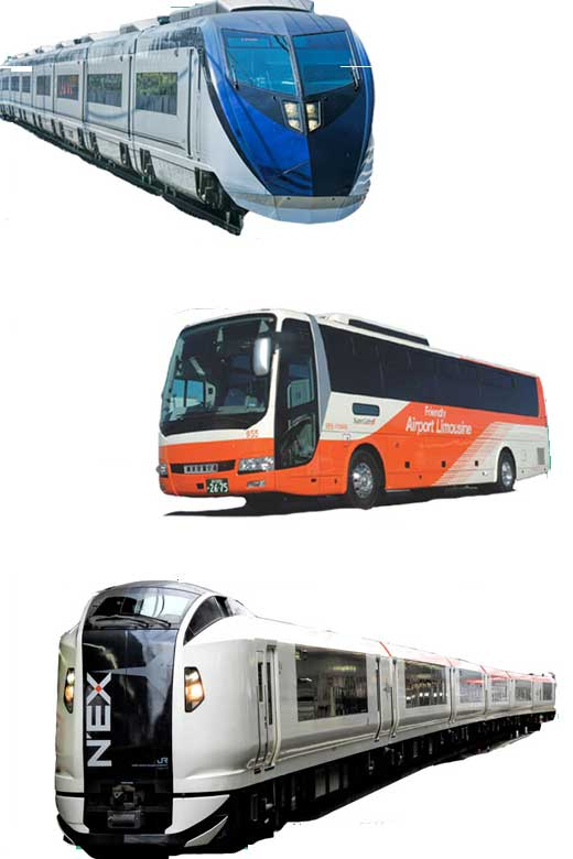 buses and trains that run between Narita airport and Tokyo city