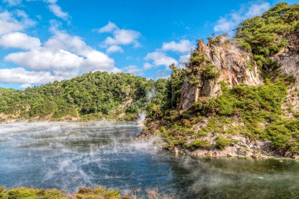 Steam rising from Waimangu cauldron, Rotorua