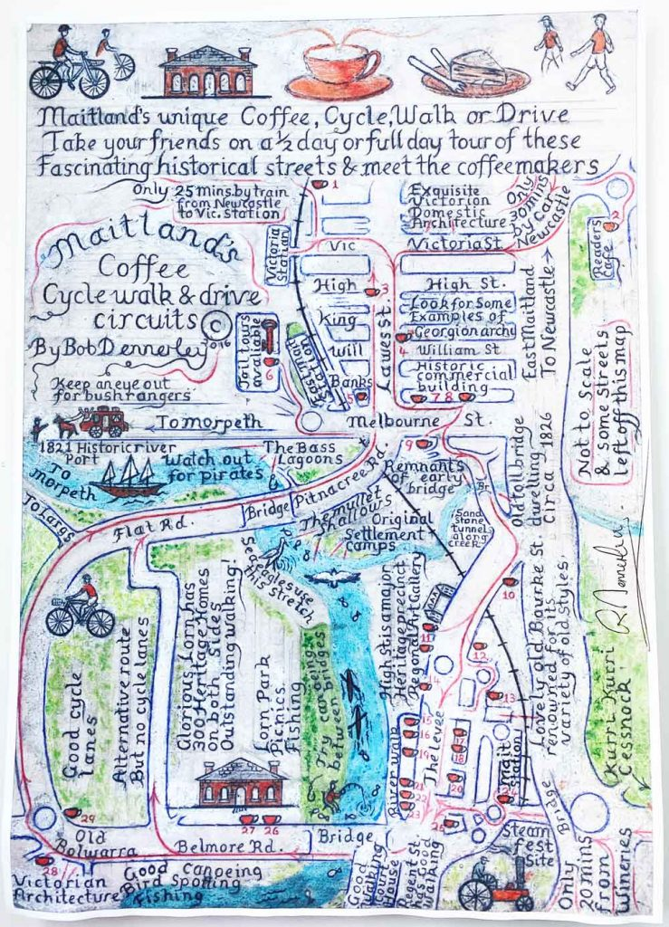 Bobs hand drawn Maitland Coffee map