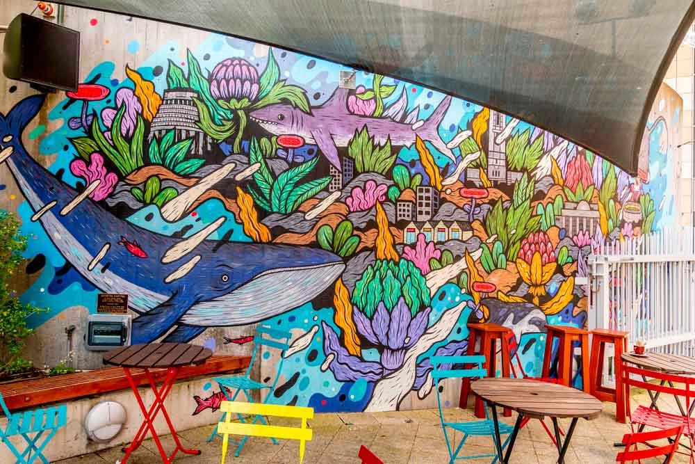 Street art wall outside Wellington cafe