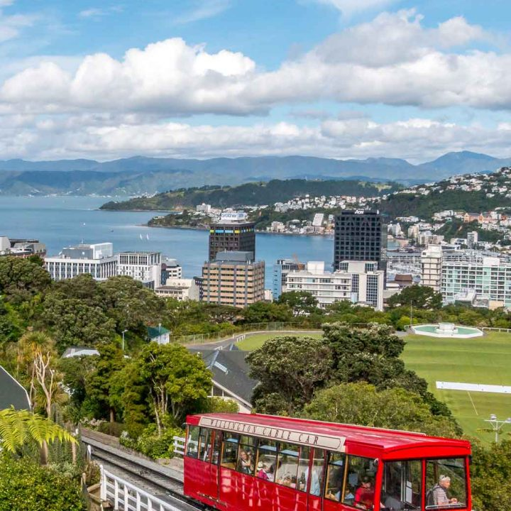 Cable car with view out over Wellington and harbour behind it
