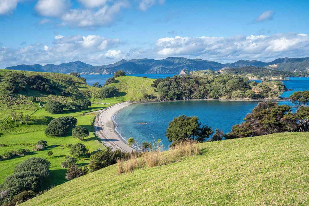 View over hillside down to beach at Urupukapuka Island
