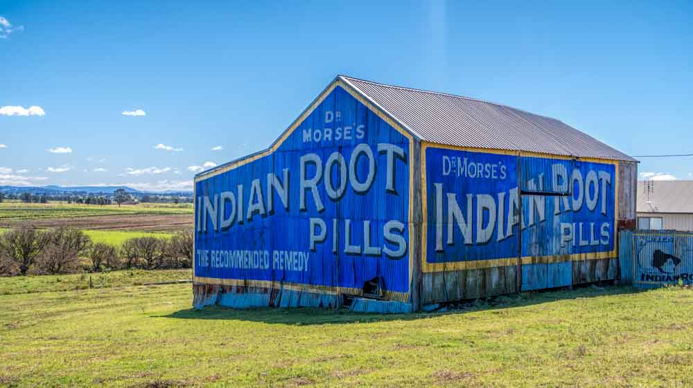 Highly recognised barn in Morpeth on big advert for Indian Root pills