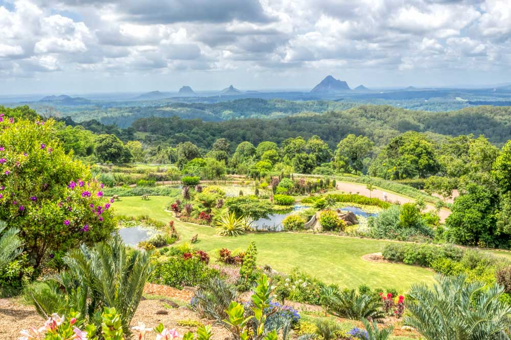 Maleny Botanic Gardens view out towards the Glasshouse Mountains