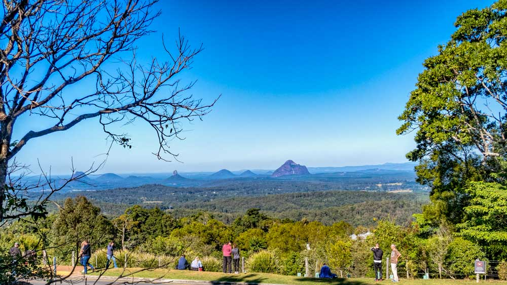 view of Glasshouse Mountains from Mary Cairncross Reserve