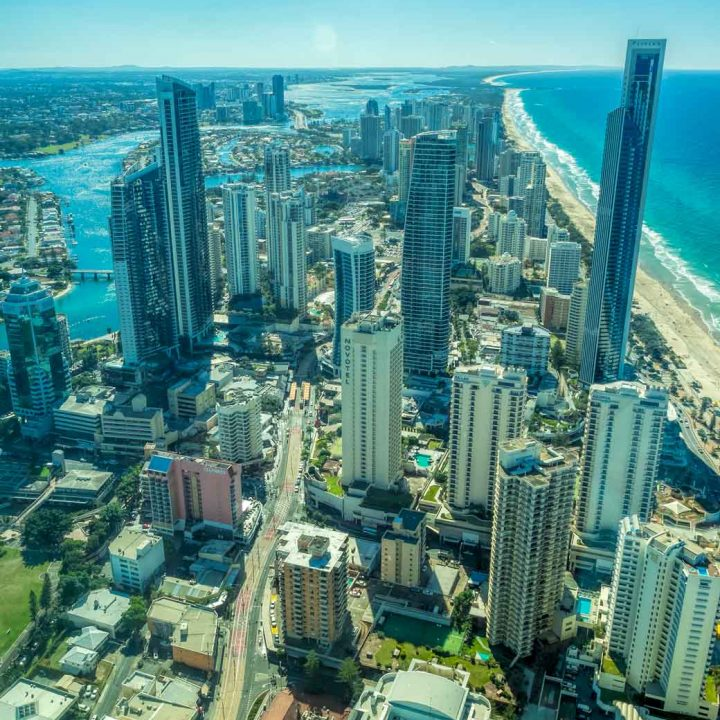 View up the Gold Coast from Skypoint tower
