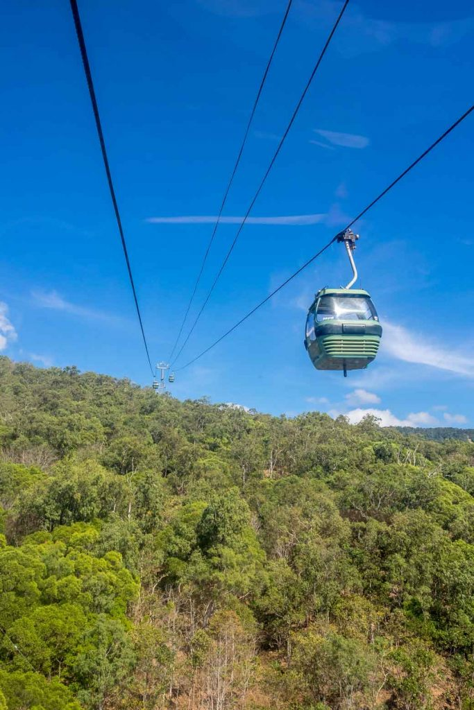 View out of the Skyrail in Cairns back up the mountain