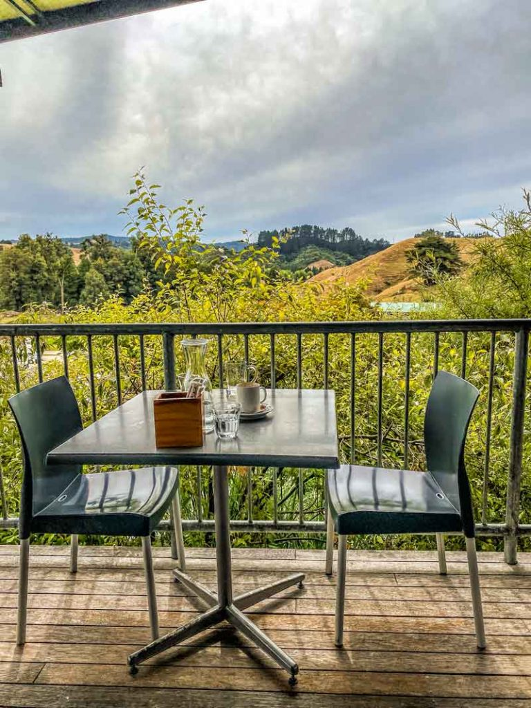 View from the deck at Huhu Cafe Waitomo
