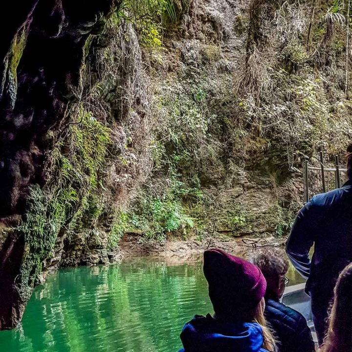 In the boat at Waitomo Glow worm Cave tour