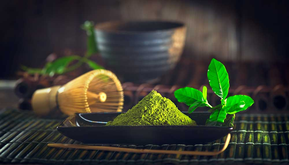 Matcha and implements for Japanese tea ceremony