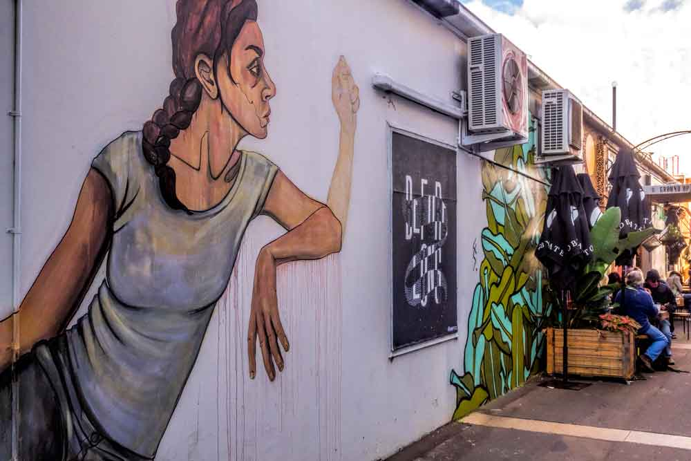 One of the laneway murals at Ground up Espresso