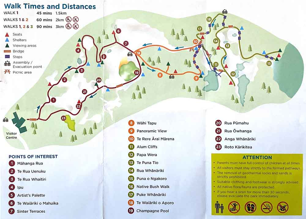 Map of Wai-o-tapu attractions