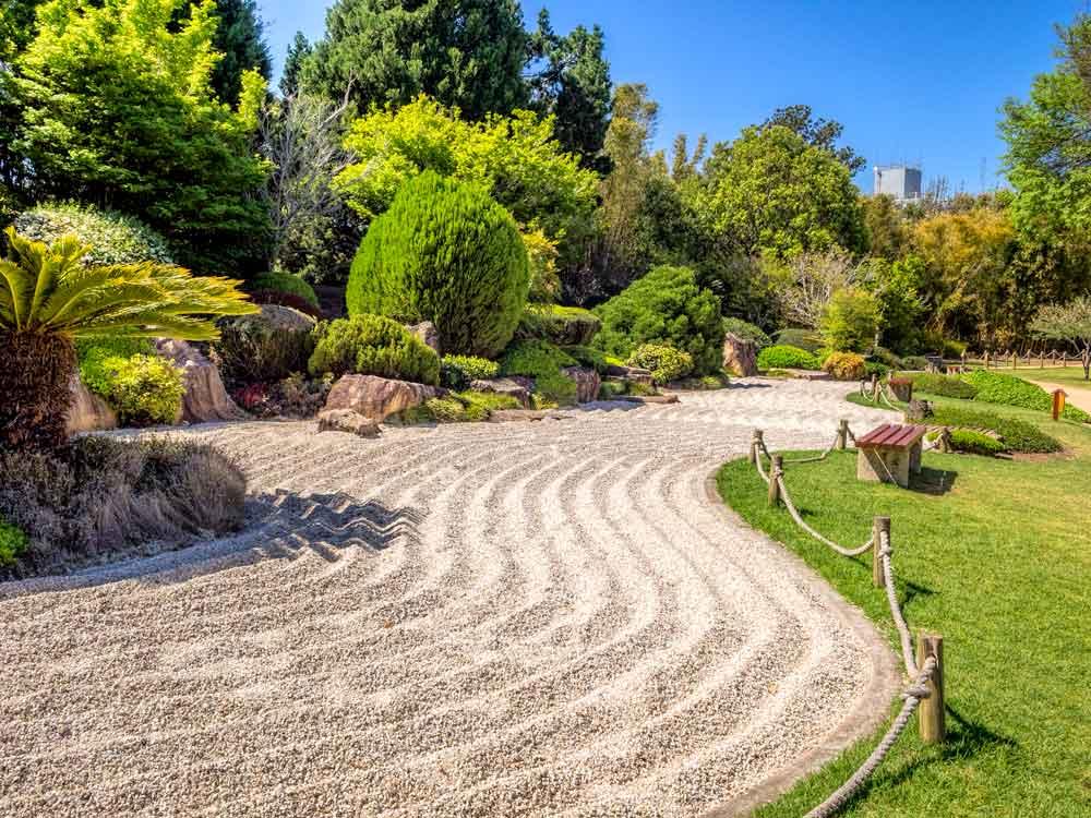 Raked dry garden