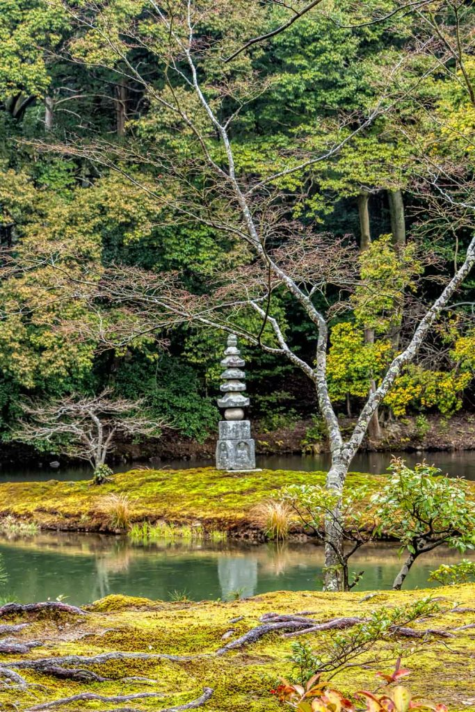 The white snake pagoda in the lake at Kinkakuji in Kyoto
