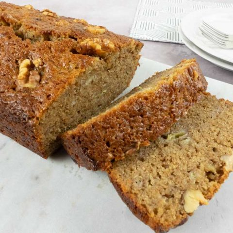 Easy banana bread on marble serving tray