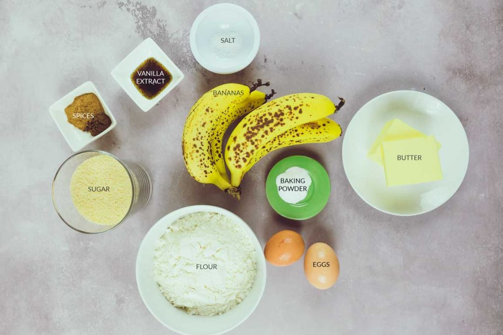 Ingredients laid out to make banana loaf