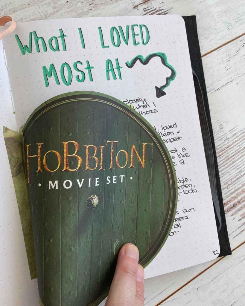 Hobbiton Movie Set layout in travel journal