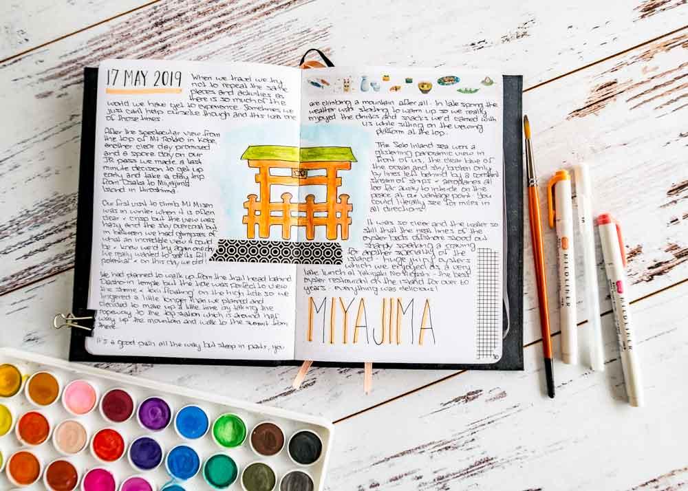 Miyajima japan travel journal layout