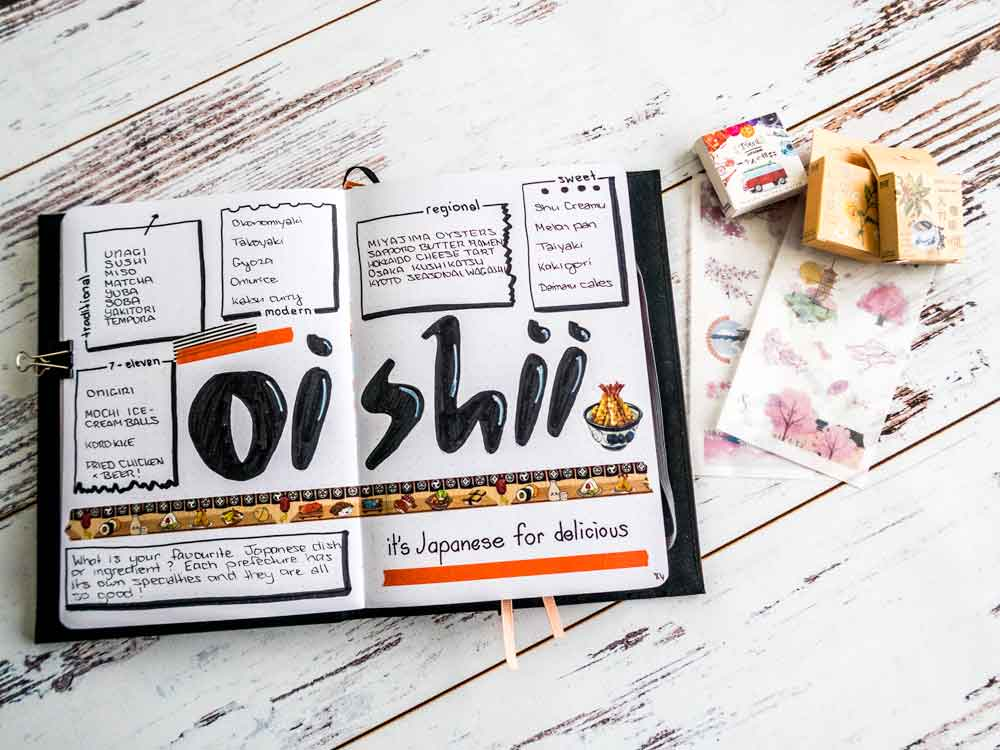 Oishii japan travel diary page