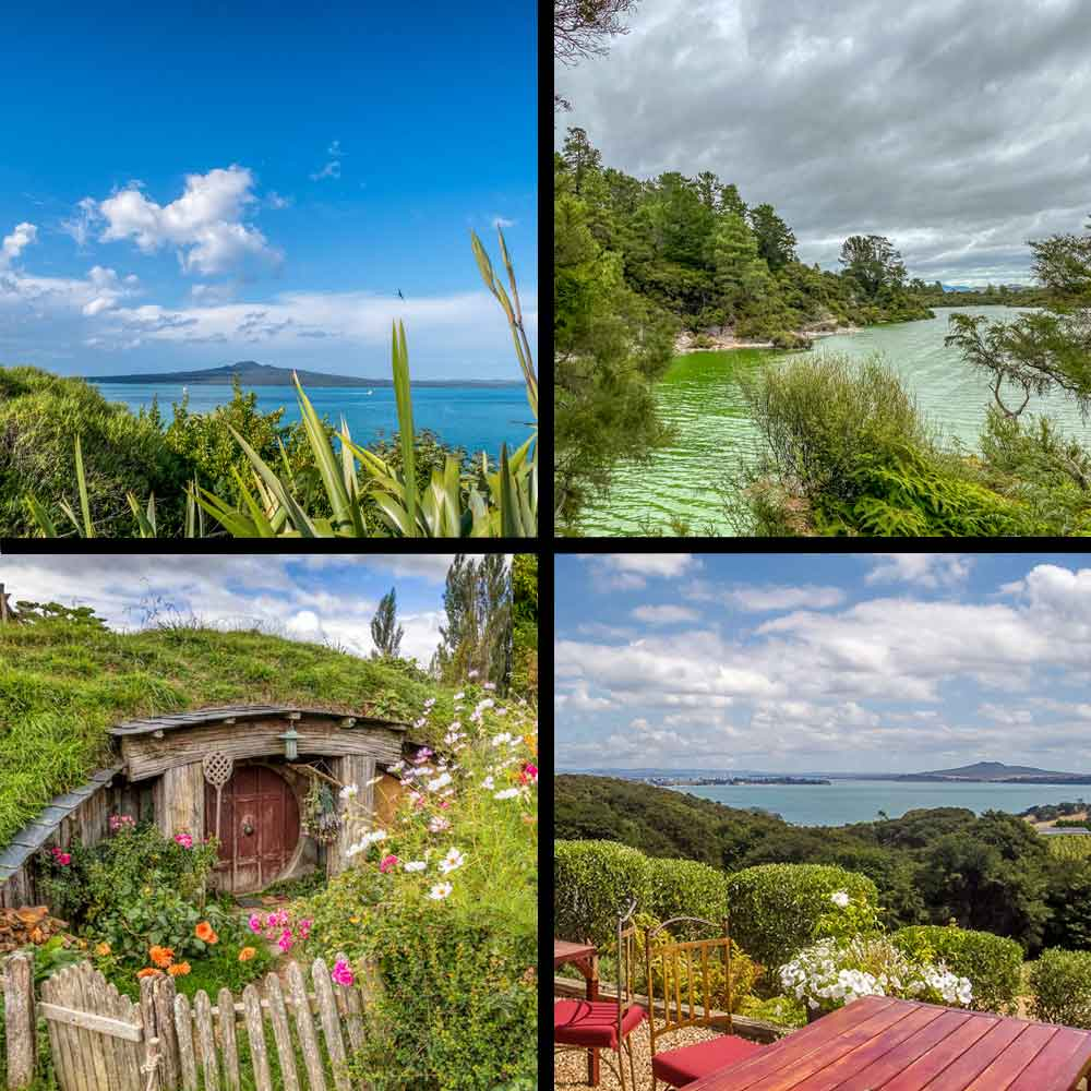 Collage of day trips from auckland images