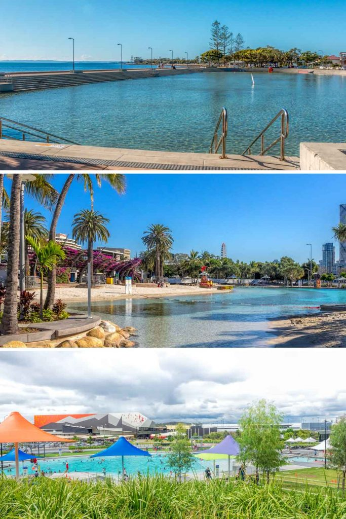 multi photo of Brisbane swimming pools at Wynnum, Southbank and Springfield